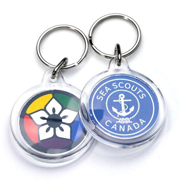 Full colour custom printed round acrylic keychains