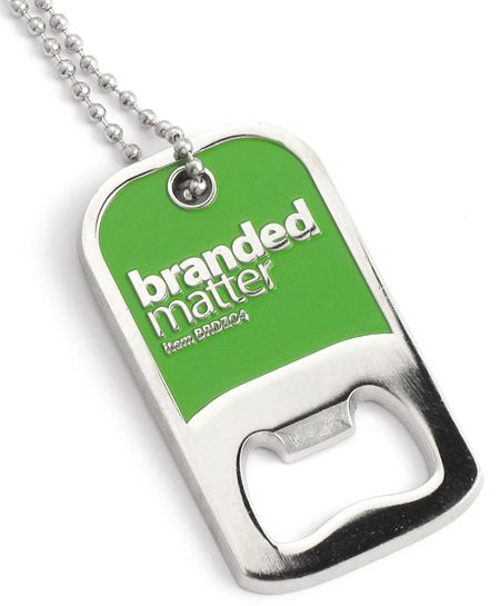 Custom made bottle opener dog tag with enamel colour fill