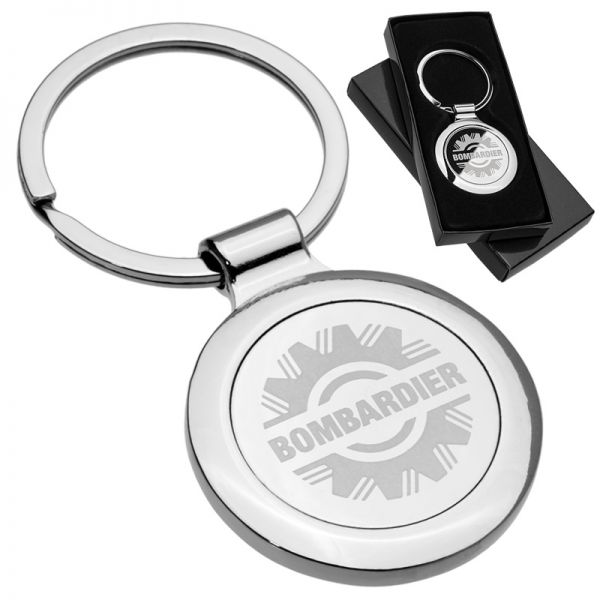 Custom engraved polished circle metal keychain