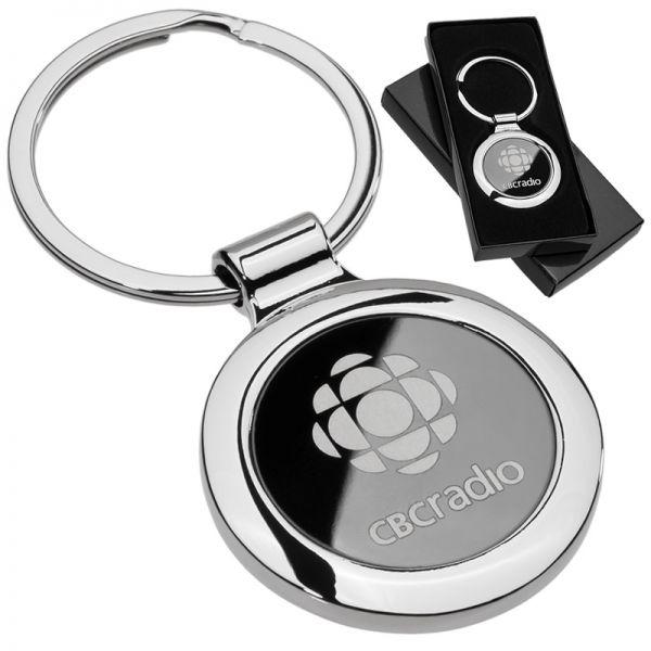 Custom engraved onyx circle metal keychains