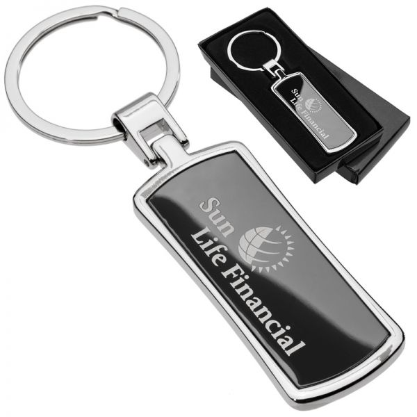 Custom laser engraved curved onyx rectangle metal keychain