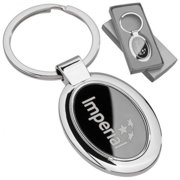 Custom laser engraved onyx oval metal keychain