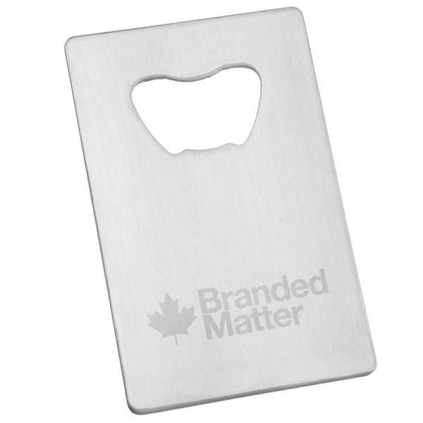 Custom engraved stainless steel credit card bottle opener