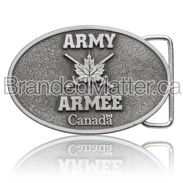 Custom Pewter Belt Buckle Canadian Army Logo