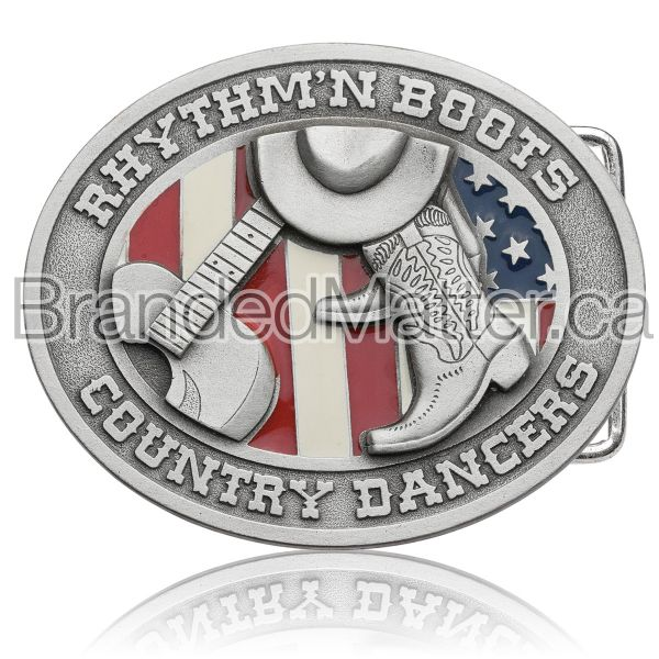 Custom Made Pewter Belt Buckle with Enamel Fills
