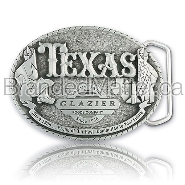 Custom Pewter Belt Buckle Texas Glazier Logo