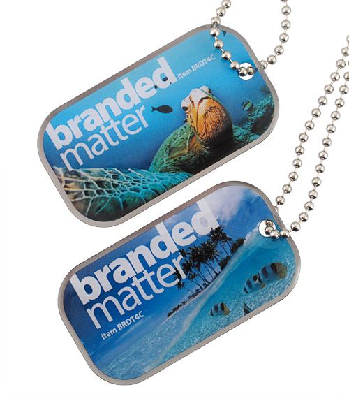 Custom made dog tags with full colour imprint