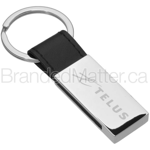 Leather Accent Branded Keychains