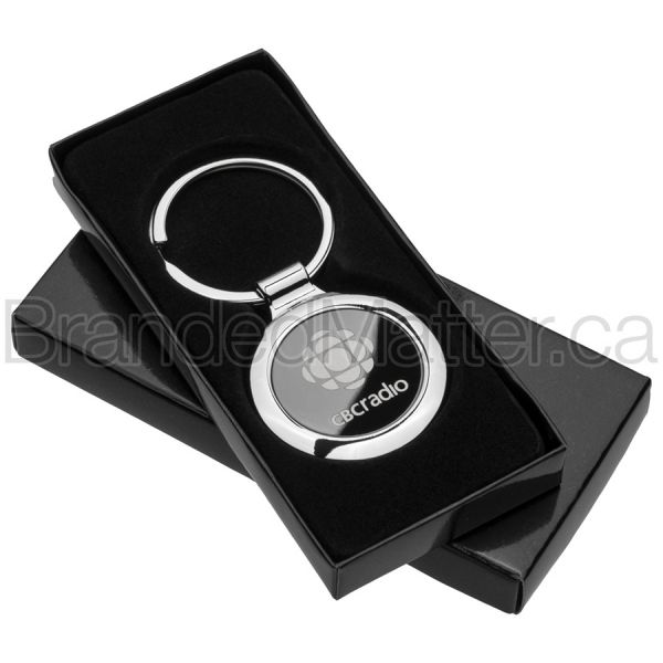 Onyx Circle Custom Engraved Keychains