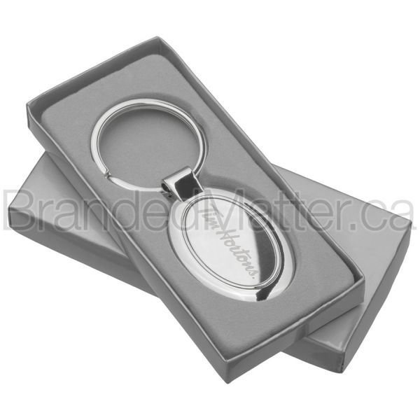 Polished Oval Laser Engraved Keychains