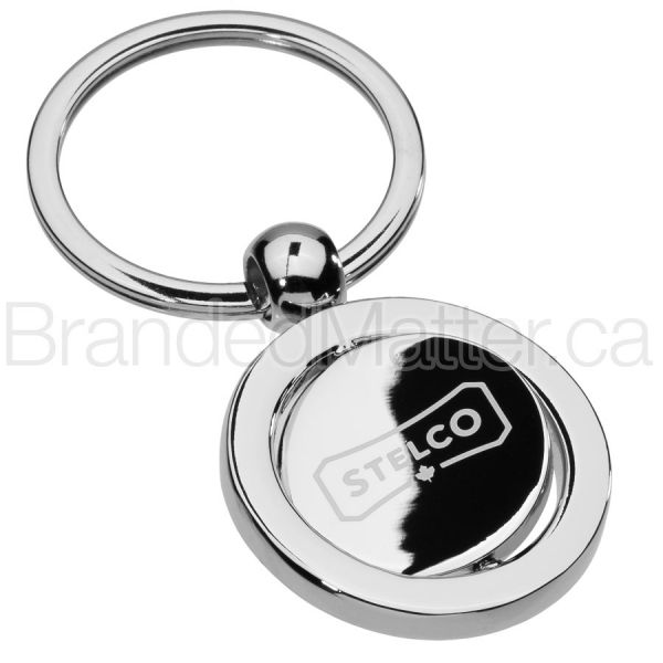 Round Rotating Center Engraved Keychains
