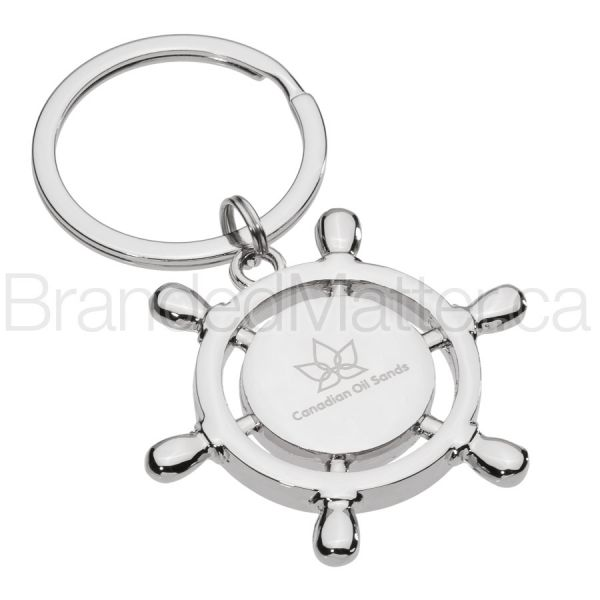 Ship Navigation Wheel Engraved Metal Keychains