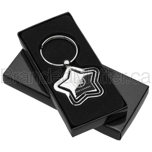 Spinning Star Engraved Metal Keychains